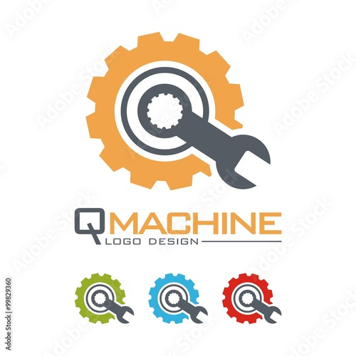 quotmachine logo gear and wrench letter q design logo
