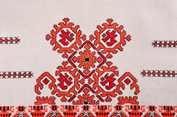 Bulgarian hand embroidery texture in old style with silk thread