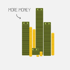 money tower. banknotes and coins concept - vector