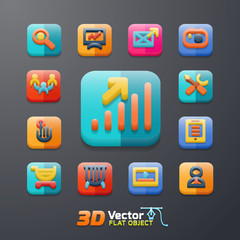 flat business 3D icon set