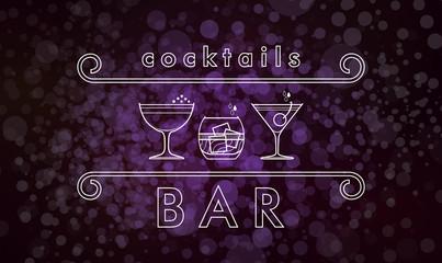 Cocktails cart  vector design template for a bar or restaurant, nightclub
