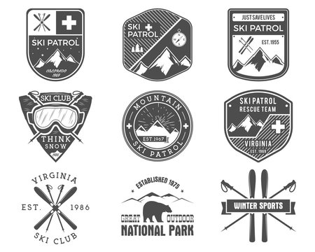 Set of Ski Club, Patrol Labels. Vintage Mountain winter sports explorer badges Outdoor adventure logo design. Travel hand drawn and hipster monochrome insignia Snowboard icon symbol. Wilderness Vector