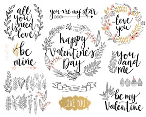 Wall Mural - Valentine`s Day Lettering Design Set - hand drawn.