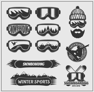 Collection of snowboarding labels, emblems, badges and design elements.