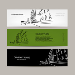 Banners design with cityscape sketch