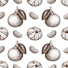 Vector seamless pattern with ink hand drawn tangerine fruit, slice and leaves sketch. Vintage citrus background