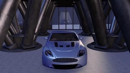 Sportwagen in einem modernen Parkhaus