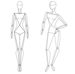 Technical vector woman figure static and in movement for fashion illustration and fashion designers. Female  fashion figure.