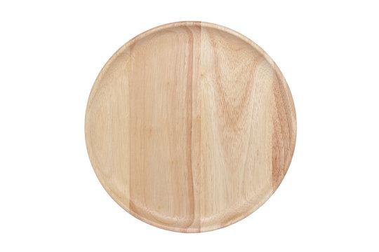 Empty wood dish isolated on white background.
