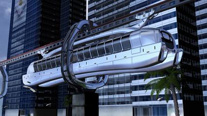 Monorail-Schwebebahn in einer futuristischen Kulisse