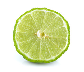 slice bergamot on white background