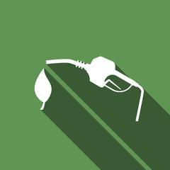 Bio fuel vector symbol icon with long shadow.