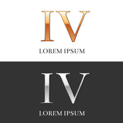 4, IV, Luxury Gold and Silver Roman numerals, sign, logo, symbol
