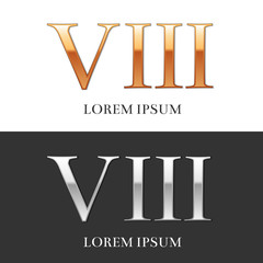 8, VIII, Luxury Gold and Silver Roman numerals, sign, logo, symb
