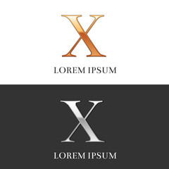 10, X, Luxury Gold and Silver Roman numerals, sign, logo, symbol