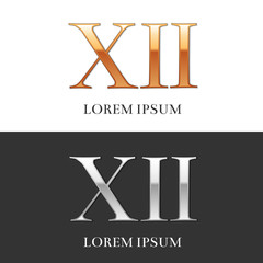 12, XII, Luxury Gold and Silver Roman numerals, sign, logo, symb