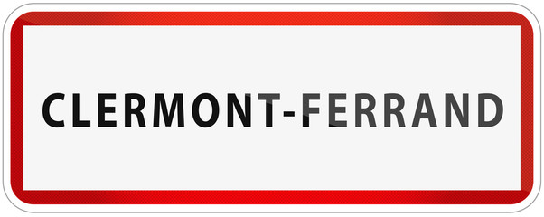 City of Clermont-Ferrand Traffic Sign in France Illustration
