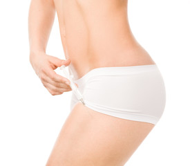 slim body woman with syringe. isolated on white background