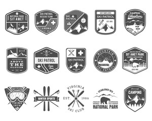 Set of Ski Club, Patrol Labels. Vintage Mountain winter camp explorer badges Outdoor adventure logo design. Travel hand drawn and hipster monochrome insignia. Snowboard icon symbol. Wilderness. Vector