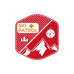 Ski Patrol Label. Vintage Mountain winter sports explorer badge. Outdoor adventure logo design. Travel hand drawn and hipster color emblem. First aid icon symbol. Wilderness Vector