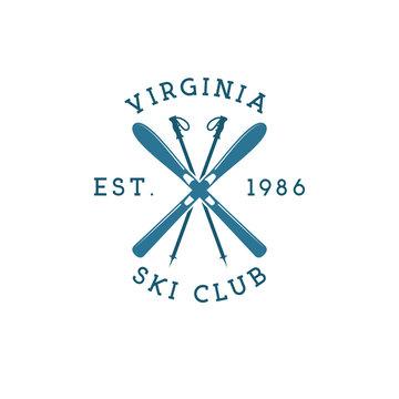 Winter sports ski club Label. Vintage Mountain explorer badge. Outdoor adventure logo design. Travel hipster color insignia. Snowboard icon symbol. Camping emblem. Wilderness Vector