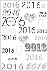 Цифры 2016 на белом фоне, написанные разными шрифтами