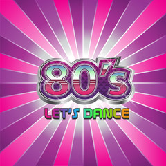 80s Retro party dance illustration logo