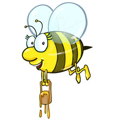 Bee cartoon holding honey bucket