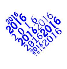 цифры синего цвета  на белом фоне в форме сердца написанные разным шрифтом