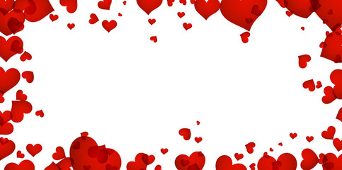 Fototapete - Background with red hearts.