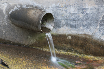 Water Flowing From Pipe Pollution