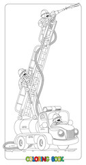 Funny fire truck or firemachine. Coloring book