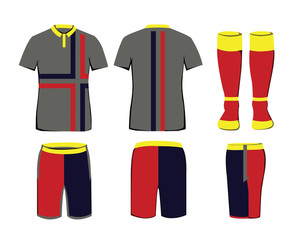 Sportswear Uniform. Digital background vector illustration. Stylish design for t-shirts, shorts and socks.