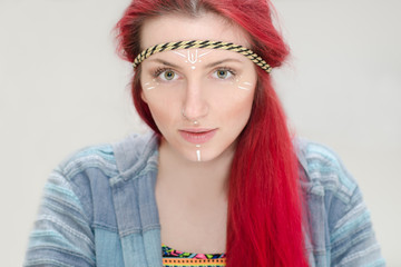 Hippy business model with red hair