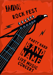 Music poster with a guitar riff in the shape of an eagle. Rock background