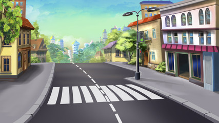 Digital painting of the unregulated crossing of the road