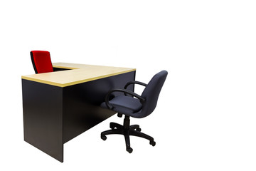 Isolated desk and chairs