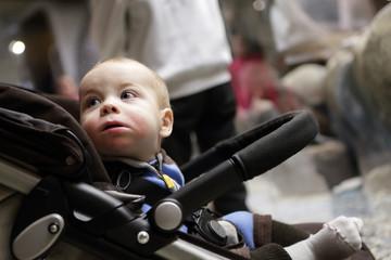 Surprised boy on a stroller