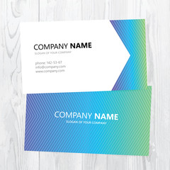 Vector business card design on wood texture