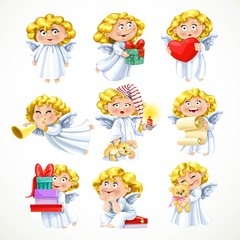 Cute little blond angel with gifts and toys isolated on white ba