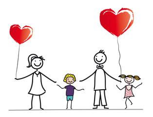 Fröhliche Familie beim Feiern mit roten Luftballons, Herzen