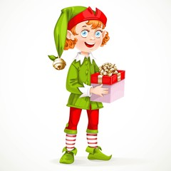 Cute New Year's elf Santa's assistant hold a gift isolated on a