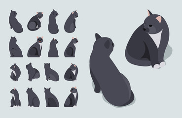 Isometric black sitting cat