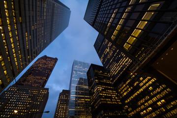 Foto op Canvas Aan het plafond night view of city skyscrapers
