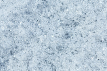 The texture of the snow surface closeup.