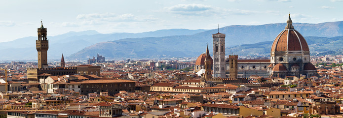 Panoramic cityscape of Florence Italy, seen from San Miniato