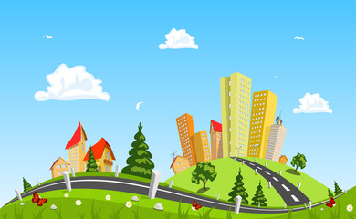 Urban landscape vector illustration