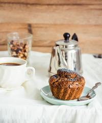 vegan muffins with carob, honey, raisins and poppy seeds, desser