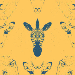 Seamless Pattern of a Wild Animal heads.