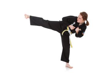 Karate: Tough Girl Does Side Kick